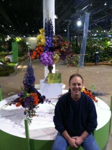 Pennsauken native Rick Cuneo with his pod display for the Philadelphia Flower Show's Designer's Studio. Photo courtesy of Rick Cuneo.