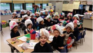 Mrs. Cipollone's class at Fine Elementary created sombreros, a traditional Mexican hat, to celebrate Cinco de Mayo (May 5), a Mexican holiday celebrating the country's victory over the French at the battle of Puebla in 1862.