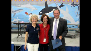 Carson staff, students, and volunteers participated in a special daylong event in which students learned about space exploration and technology. Seen here are Dr. Lorraine Fesq, a former Carson student and current engineer at NASA's Jet Propulsion Laboratory, Carson Principal Diane Joyce, and Pennsauken Mayor John Kneib.