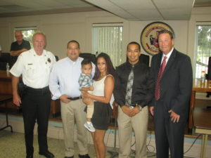 Pennsauken Mayor John Kneib swore in Timothy Mireles, seen here with his family and Captain Thomas Connor of the Pennsauken Police, as one of Pennsauken Township's newest police officers.