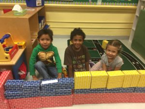 Mrs. Romvary's preschool class spent the month of September learning how to be a good friend and work together with others. Students worked together cooperatively to build a wall out of blocks.