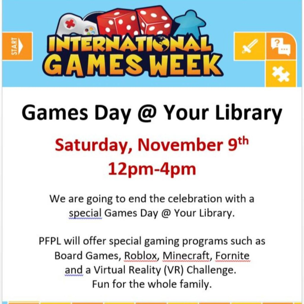 Roblox Events August 2018 Library Holds Events For International Games Week All Around Pennsauken